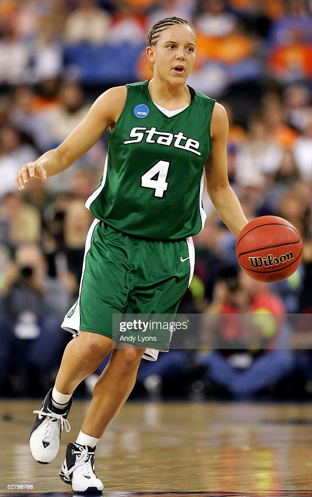 Kristin Haynie #4 of the Michigan State Spartans moves the ball in the game against the Tennessee Lady Vols in the Semifinal game of the Women's NCAA Basketball Championship on April 3, 2005 at the RCA Dome in Indianapolis, Indiana. Michigan State defeated Tennessee 68-64.