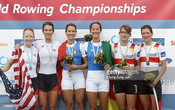 Kristin Hedstrom and Kathleen Bertko of United States Laura Milani and Elisabetta Sancassani of Italy and Lena Mueller and Anja Noske of Germany pose...