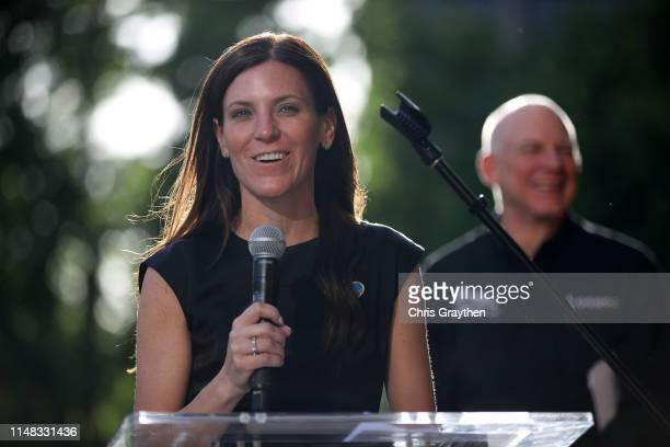 Kristin Klein, President of the Amgen Tour of California and Executive Vice President of AEG Sports speaks during the team presentation prior to the...
