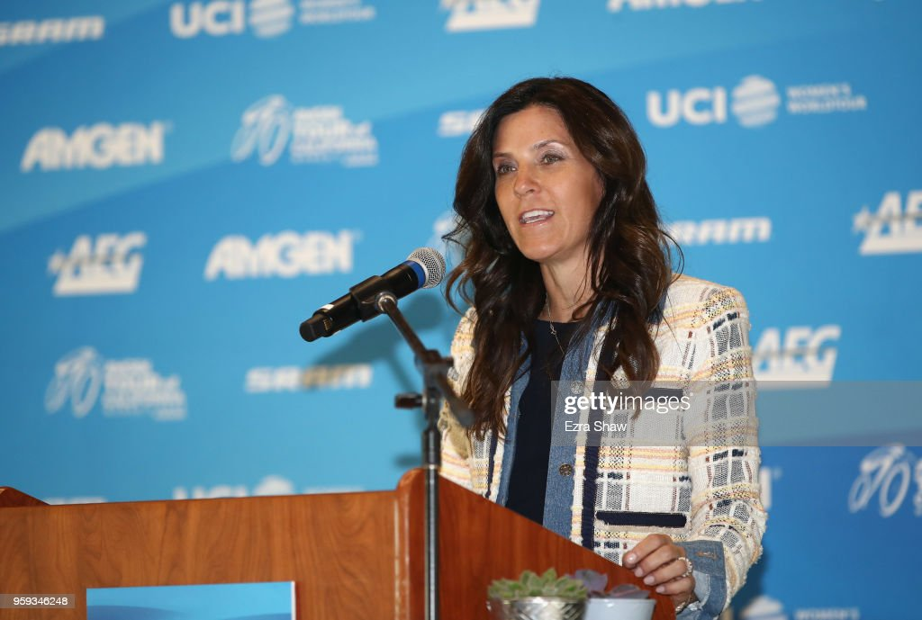 Kristin Klein, the President of the Amgen Tour of California speaks at a pre-race press event for the Amgen Tour of California Women's Race Empowered with SRAM at the Elk Grove Regional Park Pavilion on May 16, 2018 in Elk Grove, California.