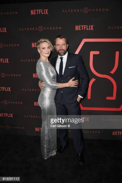 "Kristin Lehman and James Purefoy attend the Premiere Of Netflix's ""Altered Carbon"" at Mack Sennett Studios on February 1, 2018 in Los Angeles,..."