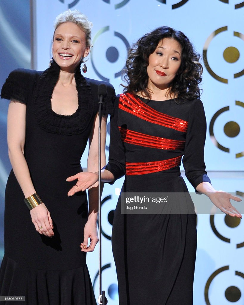 Kristin Lehman and Sandra Oh present at the 2013 Canadian Screen Awards at the Sony Centre for the Performing Arts on March 3, 2013 in Toronto, Canada.