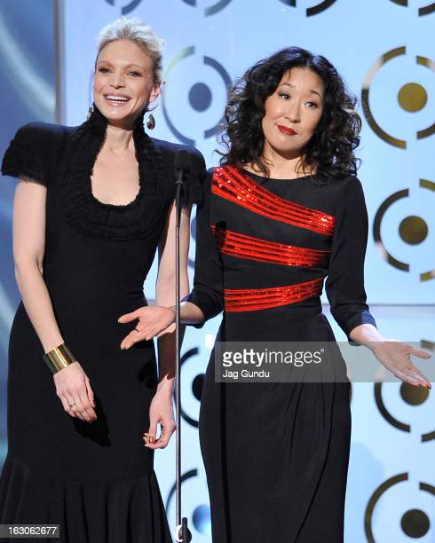 Kristin Lehman and Sandra Oh present at the 2013 Canadian Screen Awards at the Sony Centre for the Performing Arts on March 3 2013 in Toronto Canada