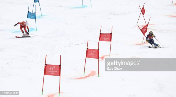 Kristin Lysdahl of Norway and Alex Tilley of Great Britain compete during the Alpine Team Event Quarterfinals on day 15 of the PyeongChang 2018...
