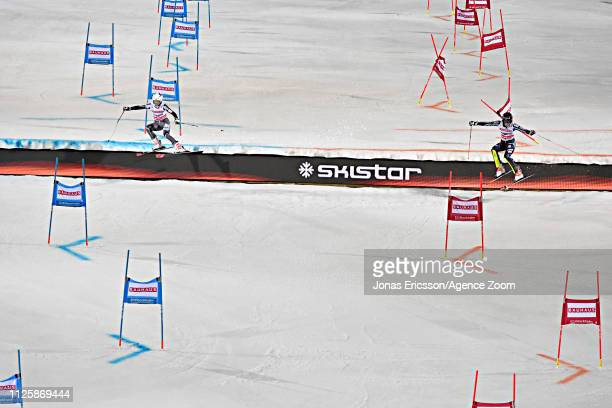 Kristin Lysdahl of Norway in action Frida Hansdotter of Sweden in action during the Audi FIS Alpine Ski World Cup Men's and Women's City Event on...