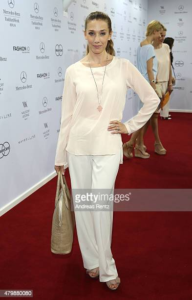 Kristin Meyer attends the Minx by Eva Lutz show during the MercedesBenz Fashion Week Berlin Spring/Summer 2016 at Brandenburg Gate on July 8 2015 in...