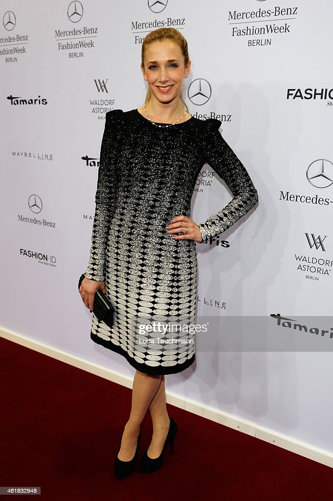 Kristin Meyer attends the Riani show during the Mercedes-Benz Fashion Week Berlin Autumn/Winter 2015/16 at Brandenburg Gate on January 20, 2015 in Berlin, Germany.