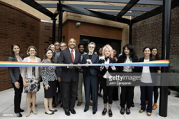 Kristin Miller Lauren Moskowitz Ruben Diaz Jr Colleen K jackson and Cyndi Lauper inaugurate the True Colors Bronx Housing Opening during the...