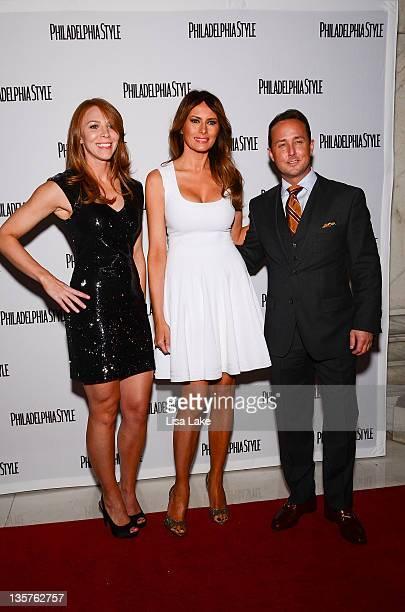 Kristin Munro Melania Trump and John Colabelli at the Philadelphia Style Magazine cover event hosted by Melania Trump at Ritz Carlton Hotel on...