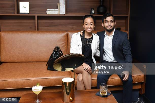 Kristin Pablang and Shane Monteiro attend as Fortuna Realty Group opens Sir Henri New York City's first penthouse speakeasy on July 26 2017 in New...