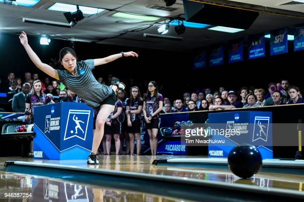 Kristin Quah of Vanderbilt University releases the ball during the Division I Women's Bowling Championship held at Tropicana Lanes on April 14 2018...