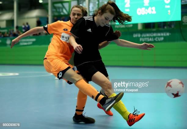Kristin Richter of Zwickau challenges Ann Sophie Braun of Hoffenheim during the final match between TSG 1899 Hoffenheim and DFC Westsachen Zwickau 20...