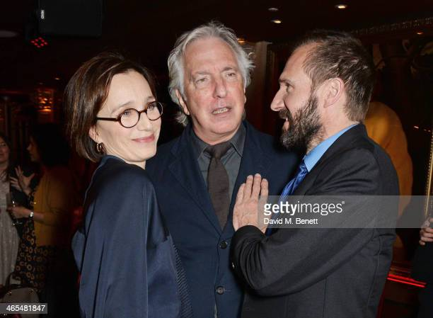 Kristin Scott Thomas Alan Rickman and Ralph Fiennes attend an after party celebrating the UK Premiere of The Invisible Woman at No 41 Mayfair on...