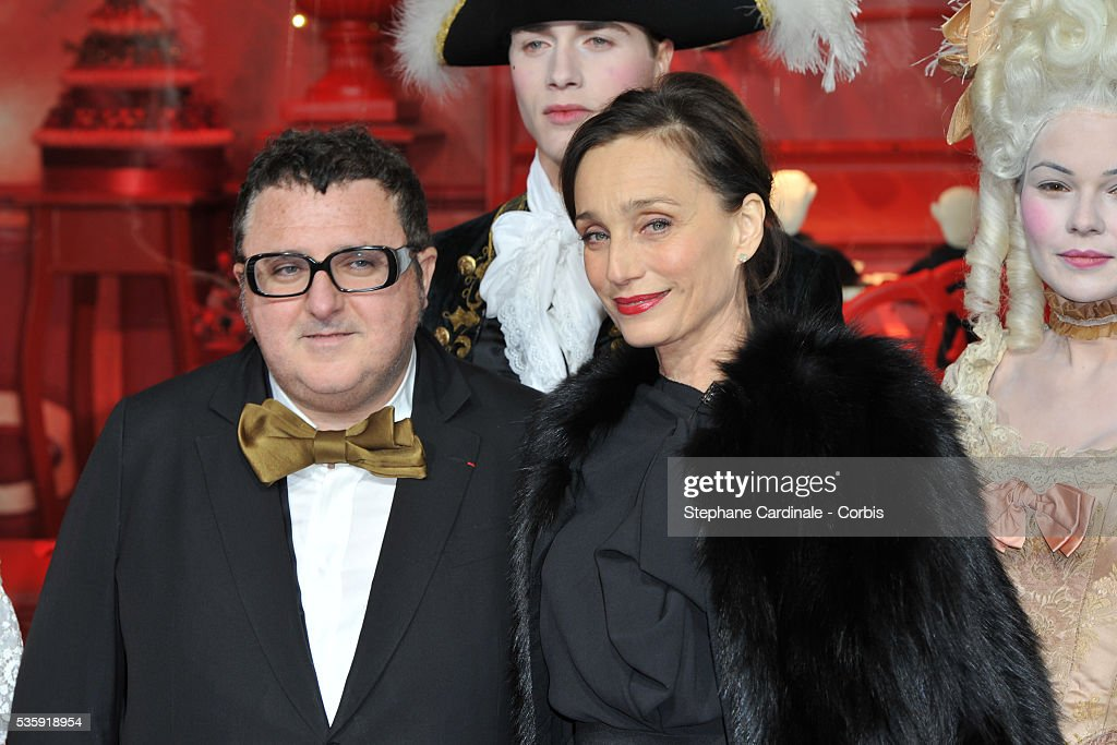 Kristin Scott Thomas and Alber Elbaz attend Christmas Illuminations Launch at the Printemps Store in Paris.