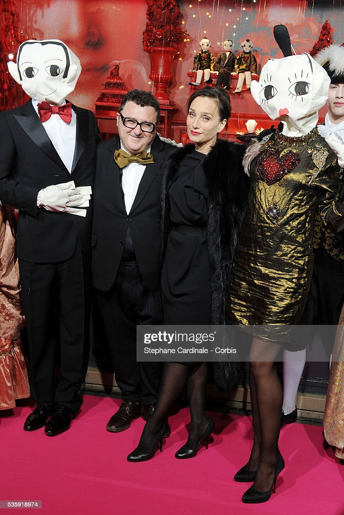 France - Christmas Illuminations Launch at the Printemps Store by Kristin Scott Thomas and Alber Elbaz