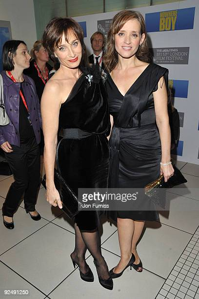 Kristin Scott Thomas and Ann Marie Duff attend the Closing Gala premiere of Nowhere Boy during the The Times BFI London Film Festival held at the...