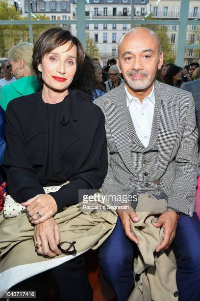 Kristin Scott Thomas and Christian Louboutin a guest attend the Valentino show as part of the Paris Fashion Week Womenswear Spring/Summer 2019 on...