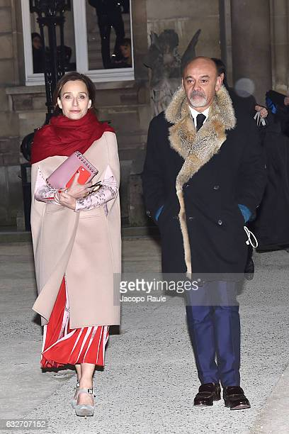Kristin Scott Thomas and Christian Louboutin are seen leaving Valentino Fashion Show duirng Paris Fashion Week Haute Couture Spring Summer 2017 on...