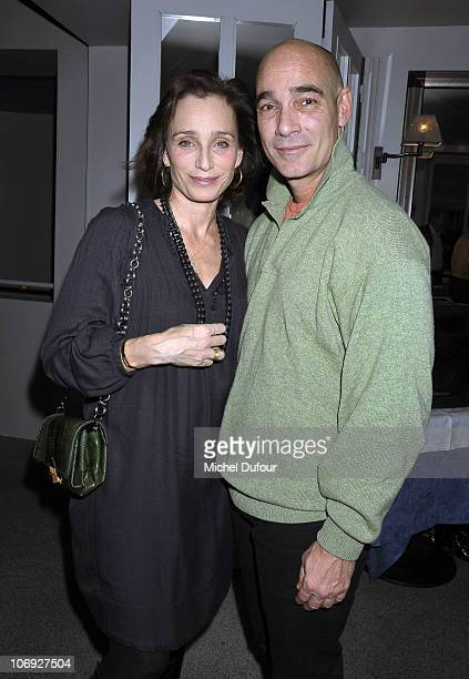 Kristin Scott Thomas and Jean Marc Barr attend a dinner honouring actress Kathleen Turner at Petrossian on November 7 2010 in Paris France