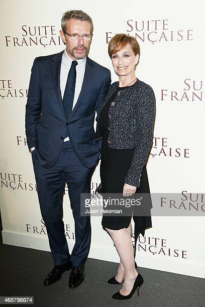 Kristin Scott Thomas and Lambert Wilson attend 'Suite Francaise' Premiere at Cinema UGC Normandie on March 10 2015 in Paris France