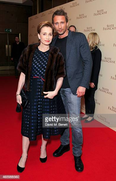 Kristin Scott Thomas and Matthias Schoenaerts attend the UK Gala screening of Suite Francaise at May Fair Hotel on March 12 2015 in London England
