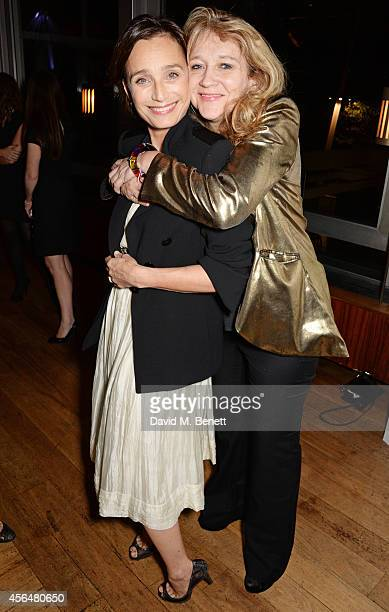 Kristin Scott Thomas and producer Sonia Friedman attend an after party following the press night performance of Electra playing at The Old Vic at...