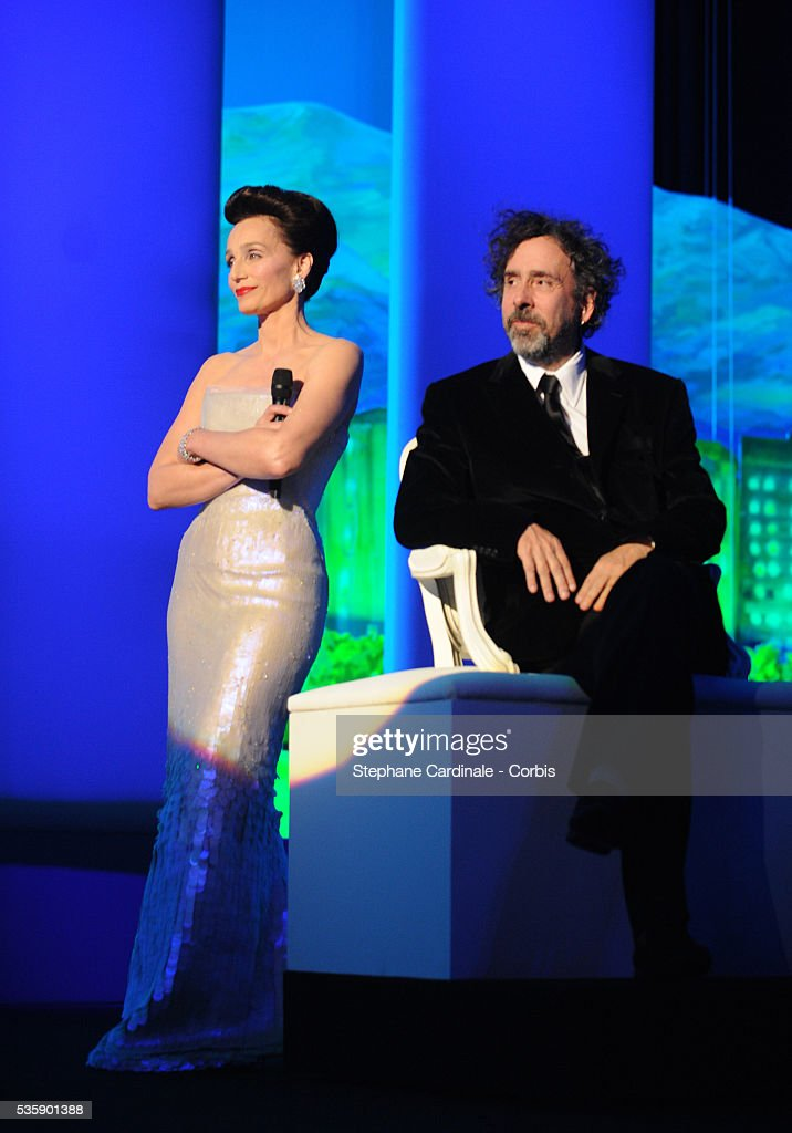 Kristin Scott Thomas and Tim Burton at the Opening Ceremony of the 63rd Cannes International Film Festival
