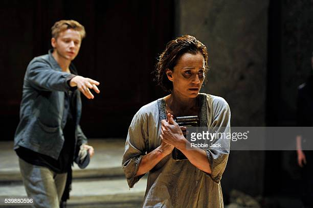 Kristin Scott Thomas as Electra and Jack Lowden as Orestes in Sophocles's Electra directed by Ian Rickson at the Old Vic in London