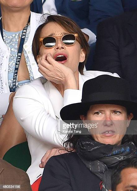 Kristin Scott Thomas attends day 13 of the Wimbledon Tennis Championships at Wimbledon on July 12 2015 in London England