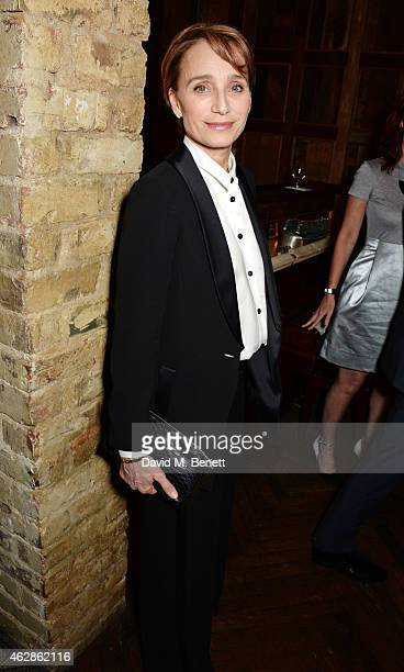 Kristin Scott Thomas attends Harvey Weinstein's BAFTA Dinner in partnership with Burberry GREY GOOSE at Little House Mayfair on February 6 2015 in...