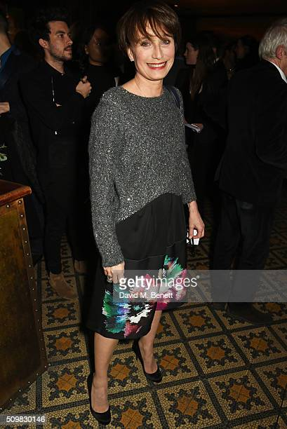 Kristin Scott Thomas attends Harvey Weinstein's preBAFTA dinner in partnership with Burberry and GREY GOOSE at Little House Mayfair on February 12...
