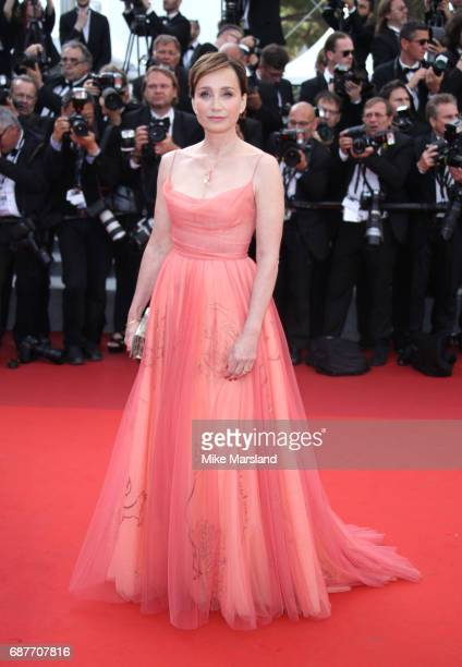 Kristin Scott Thomas attends the 70th Anniversary screening during the 70th annual Cannes Film Festival at Palais des Festivals on May 23 2017 in...