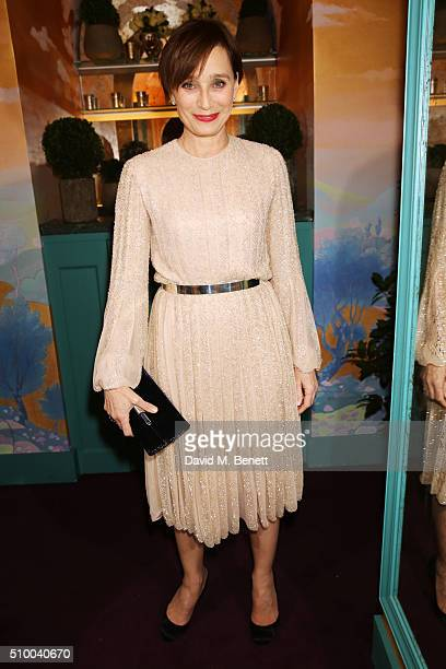 Kristin Scott Thomas attends the Charles Finch and Chanel PreBAFTA cocktail party and dinner at Annabel's on February 13 2016 in London England