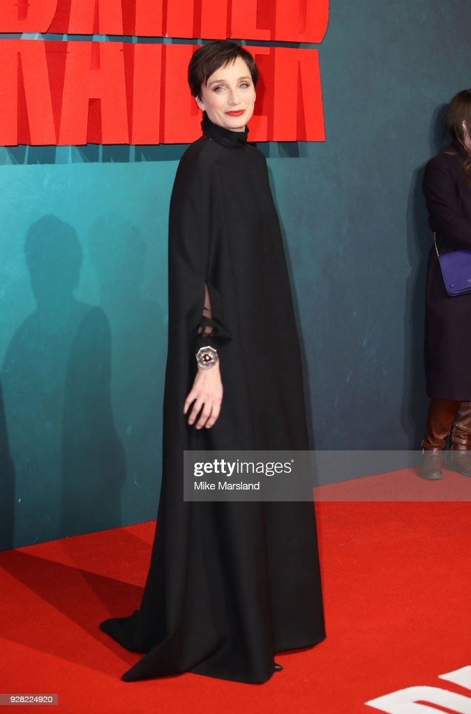 Kristin Scott Thomas attends the European premiere of 'Tomb Raider' at Vue West End on March 6, 2018 in London, England.