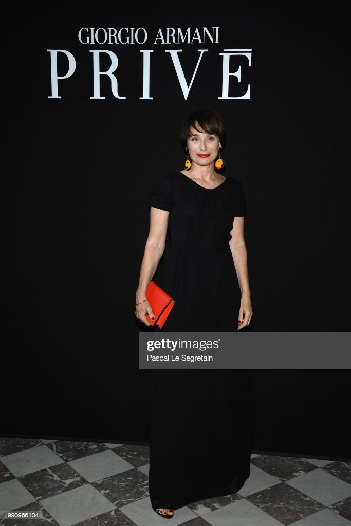 Kristin Scott Thomas attends the Giorgio Armani Prive Haute Couture Fall Winter 2018/2019 show as part of Paris Fashion Week on July 3, 2018 in Paris, France.