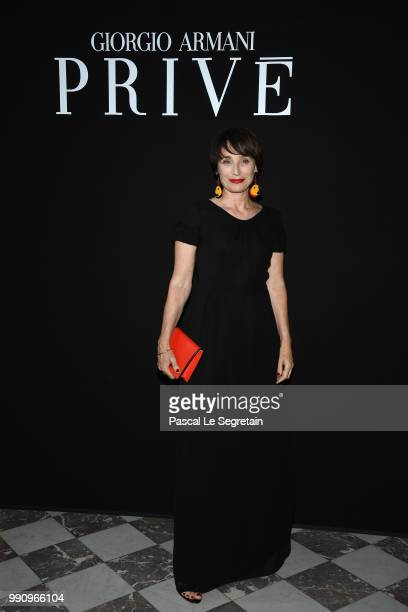 Kristin Scott Thomas attends the Giorgio Armani Prive Haute Couture Fall Winter 2018/2019 show as part of Paris Fashion Week on July 3 2018 in Paris...
