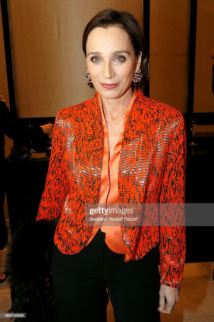 Kristin Scott Thomas attends the Giorgio Armani Prive show as part of Paris Fashion Week Haute Couture Spring/Summer 2014 on January 21, 2014 in Paris, France.
