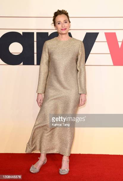 """Kristin Scott Thomas attends the """"Military Wives"""" UK Premiere at Cineworld Leicester Square on February 24, 2020 in London, England."""