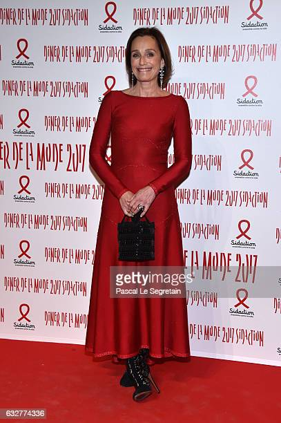 Kristin Scott Thomas attends the Sidaction Gala Dinner 2017 Haute Couture Spring Summer 2017 show as part of Paris Fashion Week on January 26 2017 in...
