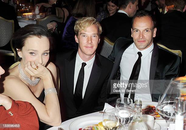 Kristin Scott Thomas Benedict Cumberbatch and Jonny Lee Miller attend a drinks reception during the 57th Evening Standard Theatre Awards at The Savoy...