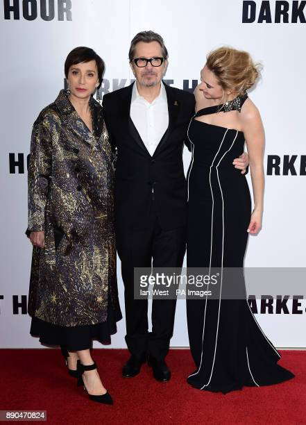 Kristin Scott Thomas Gary Oldman and Lily James attending the Darkest Hour Premiere held at the Odeon Leicester Square London PRESS ASSOCIATION Photo...