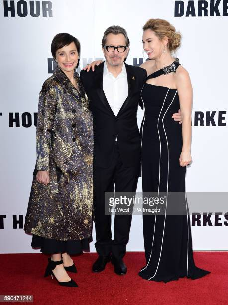 Kristin Scott Thomas Gary Oldman and Lily James attending the Darkest Hour Premiere held at the Odeon Leicester Square London