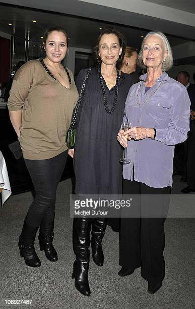 Kristin Scott Thomas her daughter Hannah Olivennes and her mother Deborah Scott Thomas attend a dinner honouring actress Kathleen Turner at...
