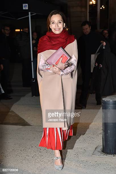 Kristin Scott Thomas is seen leaving Valentino Fashion Show duirng Paris Fashion Week Haute Couture Spring Summer 2017 on January 25 2017 in Paris...