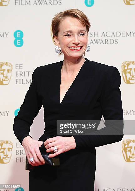 Kristin Scott Thomas poses in the winners room at the EE British Academy Film Awards at The Royal Opera House on February 8 2015 in London England