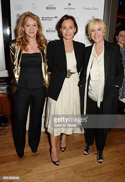 Kristin Scott Thomas poses with producers Sonia Friedman and Sally Greene at an after party following the press night performance of Electra playing...