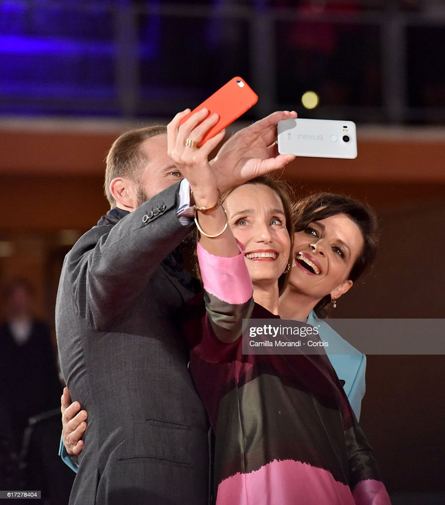 Kristin Scott Thomas, Ralph Fiennes and Juliette Binoche walk a red carpet for 'The English Patient - Il Paziente Inglese' during the 11th Rome Film Festival on October 22, 2016 in Rome, Italy.