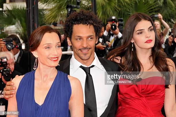 Kristin Scott Thomas Tomer Sisley and Bojana Panic at the premiere of Le Silence de Lorna during the 61st Cannes Film Festival
