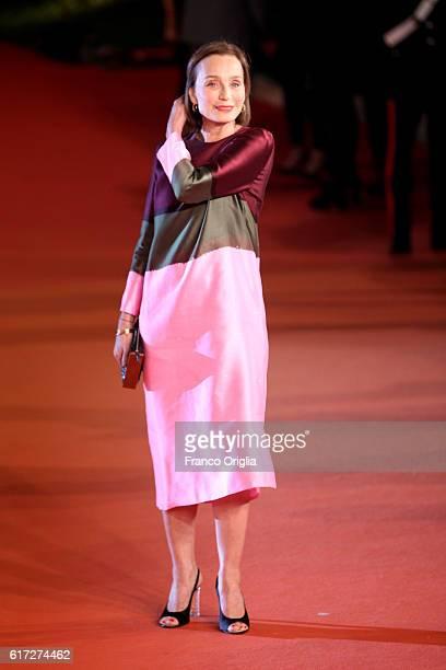 Kristin Scott Thomas walks a red carpet for 'The English Patient - Il Paziente Inglese' during the 11th Rome Film Festival at Auditorium Parco Della...