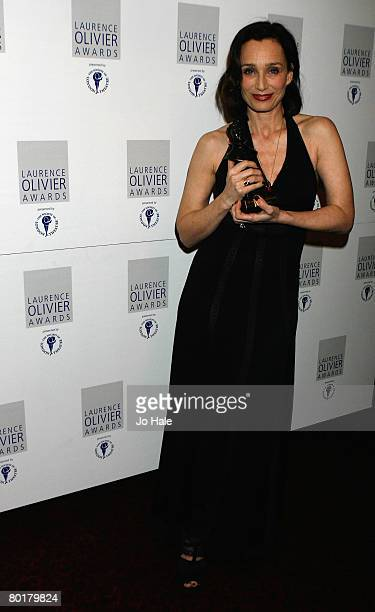 Kristin Scott Thomas, winner of best actress for The Seagull poses in the awards room at the Laurence Olivier Awards at Grosvenor House on March 9,...